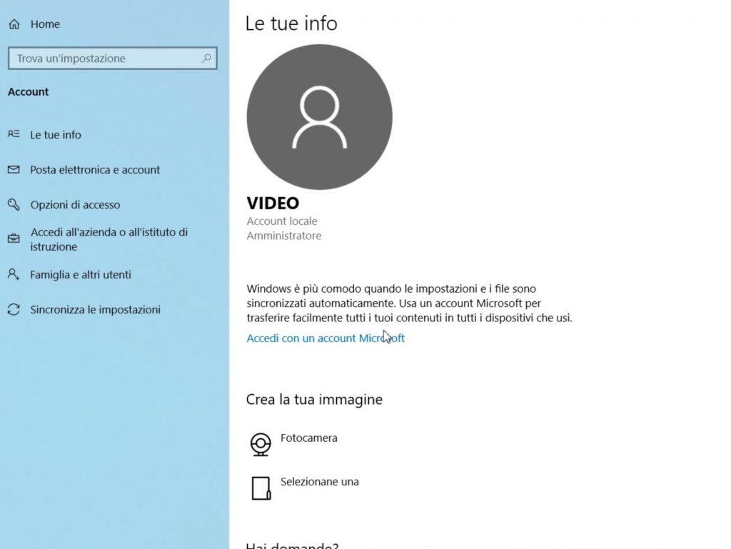Gestione utenti Windows 10