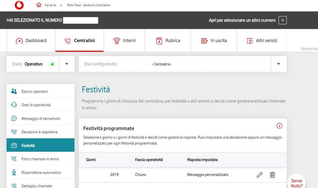 impostare la chiusura festività su centralino Vodafone