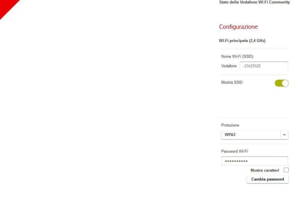 wifi imostazioni generali per Cambiare password WIFI Vodafone
